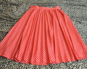 Vintage Peppy Polka Dot Pleated Skirt Size Large
