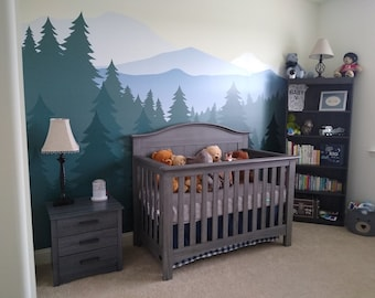 Mountain Wall Decal / Mountain Wall Mural / Woodland Wall Mural / Forest Wall Mural / Pine Tree Wall Decal / Peel and Stick Mural