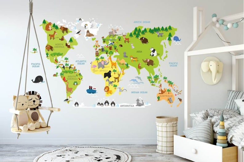 Wall Map Decal / Kids World Map / l and Stick | Etsy Wall Map Decal on