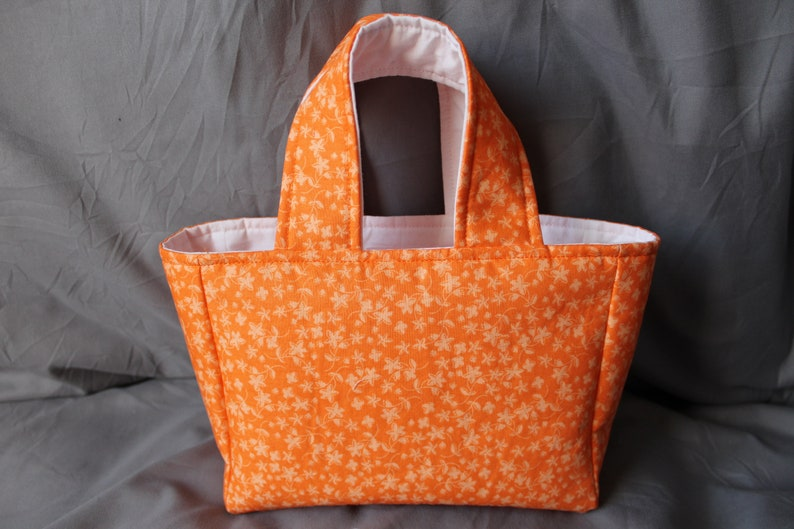 Adult Purse Toddler Purse Mini Tote Knitters Project Bag Kid Purse Small Knitter/'s Tote Crochet Project Tote Orange Bag Small Tote
