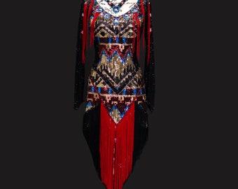 150 Aztec Black Maroon Dress