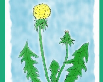 Dandelion picture for kids room or as a wall decoration in the home as a direct download print art