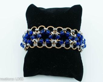 Bronze and Cobalt Japanese Lace  Bracelet