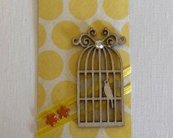 Yellow Polka-Dot Birdcage Gift Tag