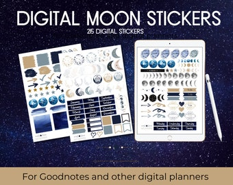 Digital Moon Sticker Set For Ipad and Tablet, Digital Stickers, Digital Sticker Set, Moon Stickers for Planners, Moon Phase Digital Stickers
