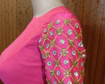 Designer high neck blouse in Pink with embroidery sleeves