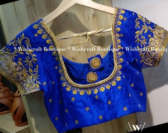 Designer Saree Blouse with maggam work Indian Blouse Free Fast Shipping Great Indian Blouse Collection Pure Rawsilk Bridal Blouse