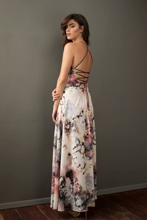Gray Back Blouson Pink Back Cream Cross Engagement Tie Party Maxi Dress Romantic Tie Deep Classy Chic Strappy Sleeveless Back qzvwtnwx
