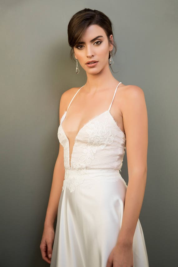 Wedding Dress Cleavage Strap Cross Back Lace Nude White | Etsy