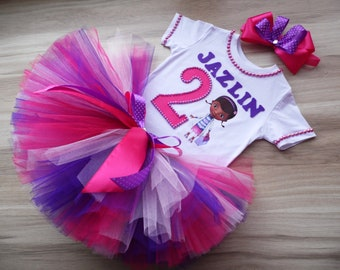 Doc McStuffins Animal Doctor Dr Girl 3rd Birthday Tutu Outfit Set Shirt Party