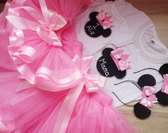 f1e4d7d559 Mommy and Me Personalized minnie tutu outfit, Mom and Baby matching pink  outfit, Mommy and Me pink tutu, mother daughter matching tutu set