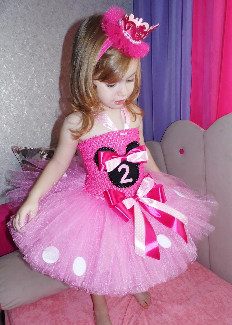 4a09e5316 Pink Minnie Mouse Birthday tutu dress Toddler princess Minnie   Etsy