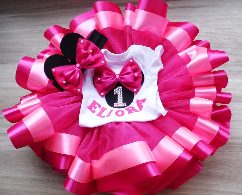0f94b8e58873 Hot pink Minnie Mouse Birthday tutu Outfit for girl Fuchsia | Etsy