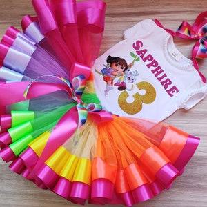Dora the Explorer Birthday Dress +NAME+ 2 Pc Fuchsia Tutu party outfit 6th sixth 6 birthday Shirt Personalized
