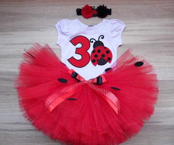 Red Black Ladybug Bug Infant Baby Girl 1st First Birthday Tutu Outfit Shirt Set