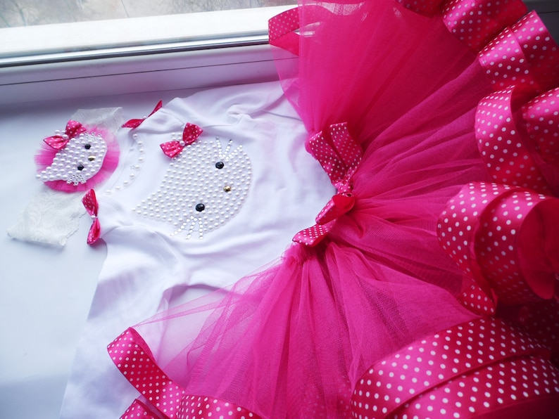 Hot Pink Tulle Skirt Hot Pink Kitty 1st Birthday tutu Outfit Personalized First Birthday Outfits Pink Cake Smash tutu dress