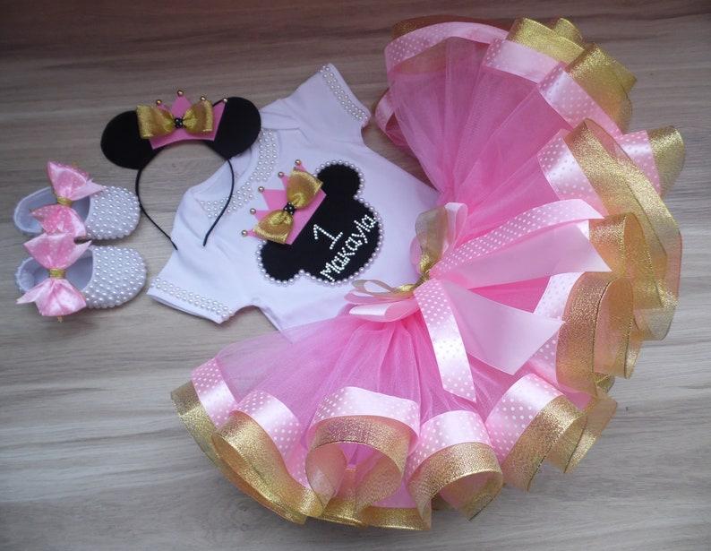 Minnie Mouse Purple Hot PInk Tutu Shirt Headband Set Baby Girl Birthday Outfit