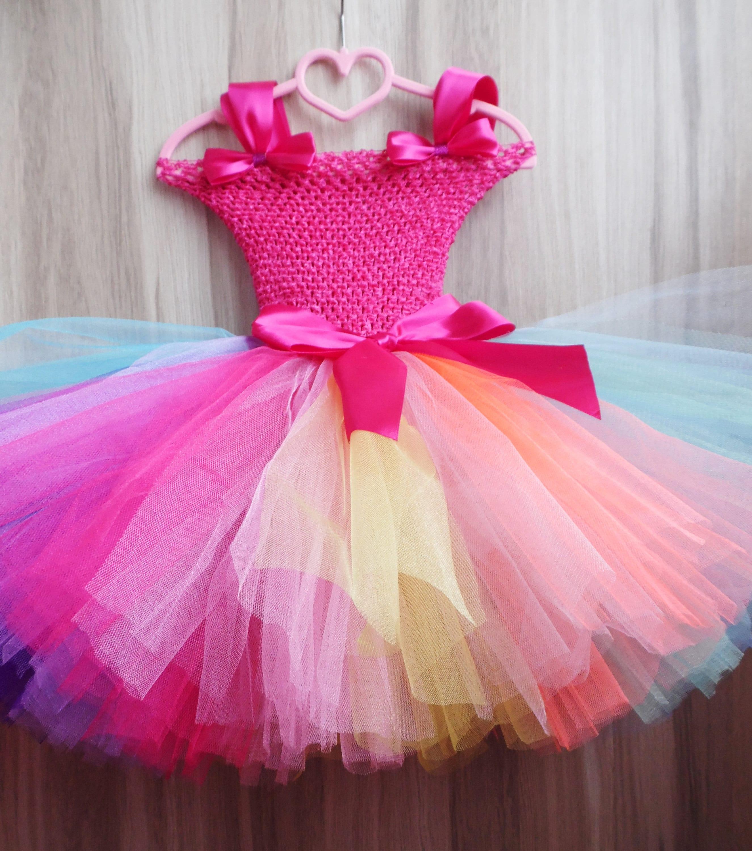 883c31e8cb50 Rainbow Princess Tutu Dress for girl Multi Color Tutu Dress   Etsy