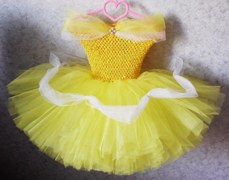 1752e57e3 Princess Belle tutu Dress inspired Costume Yellow Tutu Dress | Etsy