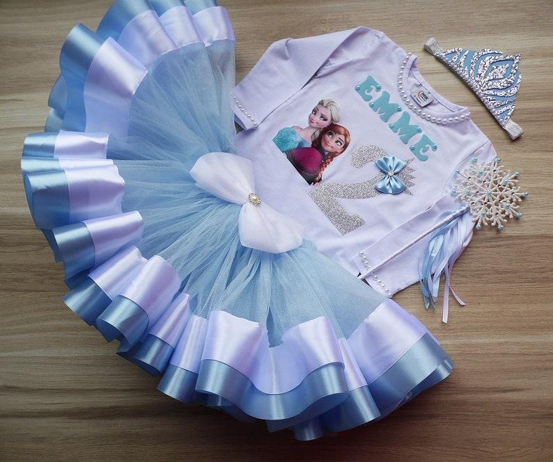 Anna /& Elsa shirt birthday party tutu set Birthday Tutu Outfit Elsa Anna Princess Birthday tutu set