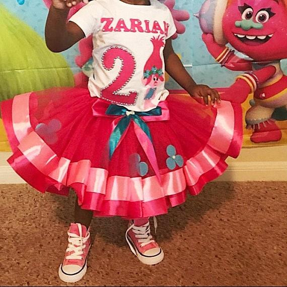 Rainbow Trolls Poppy Girls Costume Poppy 1st 2nd 3rd 4th 5th 6th Birthday tutu Party Poppy headband Trolls Poppy Birthday Tutu Outfit
