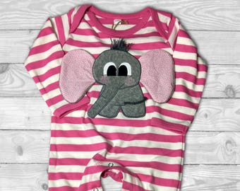 Baby Girl Pajamas, Elephant Baby Clothes, Newborn Sleeper, Personalized Pajamas Kids,  Long Sleeve Bodysuit for Baby Girl, Baby Girl Pyjama