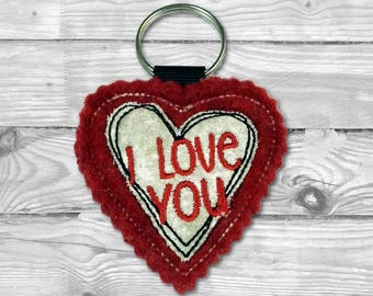 Heart Keychain, Personalized Keychain, Heart Patch, Heart keyring, Heart embroidered ornaments, Love Embroidery, Heart home decoration