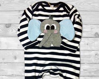 Baby Boy Pajamas, Elephant Baby Clothes, Baby Boy personalized Gift, Custom Baby Name, Newborn Sleeper, Long Sleeve Bodysuit, Baby Pyjama