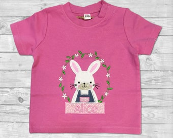 Bunny Shirt, Personalized Emboidered Shirt, Shirt for Girl, Baby shirt with name, Personalised baby girl outfit, Baby girl Clothes