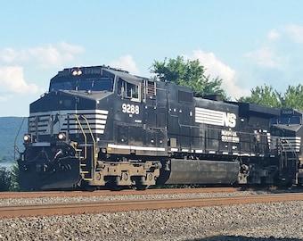 Digital Photograph of Norfolk Southern GE C44-91W Leading Unit Train