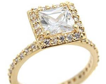 Ring - reflo821-gold plated - 360 degrees with a solitaire cz set