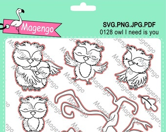 Owl I need is you digital stamp and svg file, cutting files, cricut file, scrapbooking supplies, owl clip art, craft supplies, fall stamps