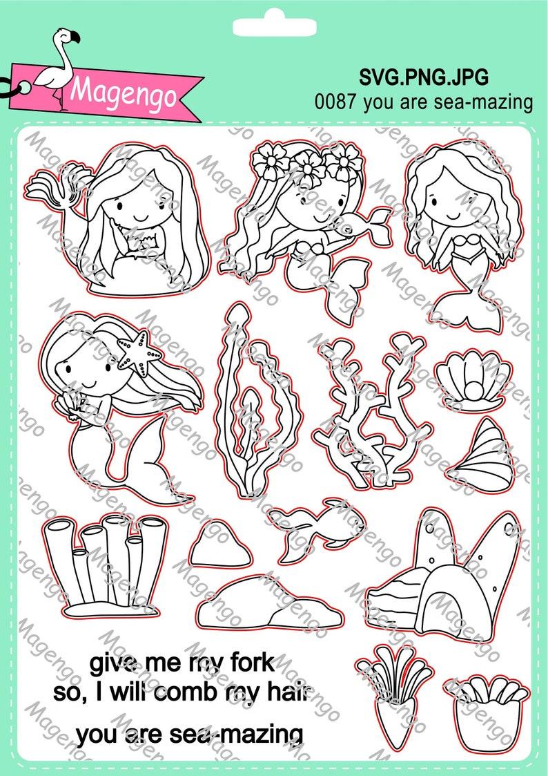 Meerjungfrau Briefmarken Svg-Dateien druckbare Foto Bild 0