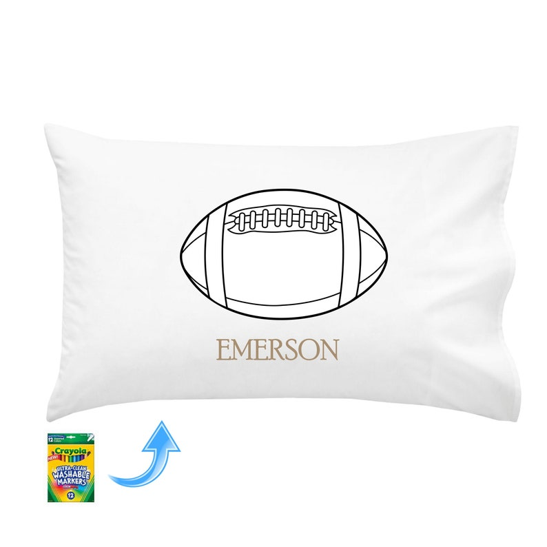 PERSONALIZED DIY Color on Football Pillowcase image 0