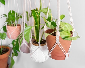 No Tassel Macrame Plant Hanger Without Tail, Indoor Hanging Planter No Tail Tassle No Fringe,Long Simple Minimalist Hanging Plant Pot Holder