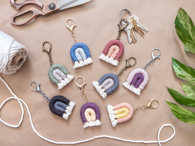 Boho Accessories Small Gifts Macrame Keychain Fringe