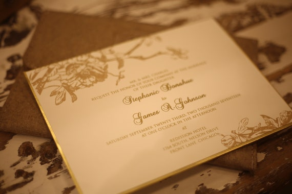 luxury wedding invitation with gold foil print etsy