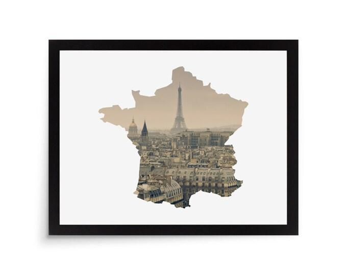 Travel Housewarming Photo Gift Picture Frame Mat Die Cut 11x14 France Photo Mat France Wall Art Decor Photo Frame Mat