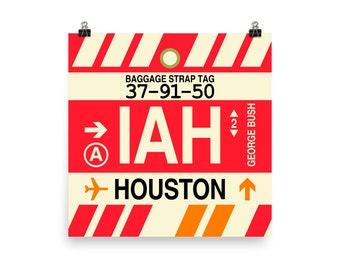 IAH Aviation Art Houston Airport Code Print Aviation Gifts Travel Gifts Wall Art Decor Texas Airplane Nursery Poster