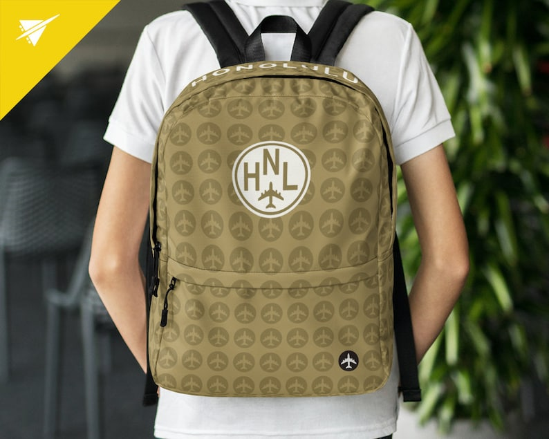 Digital Nomads and Urban Travellers Honolulu HNL Laptop Backpack  Travel-Themed Gift for Frequent Flyers