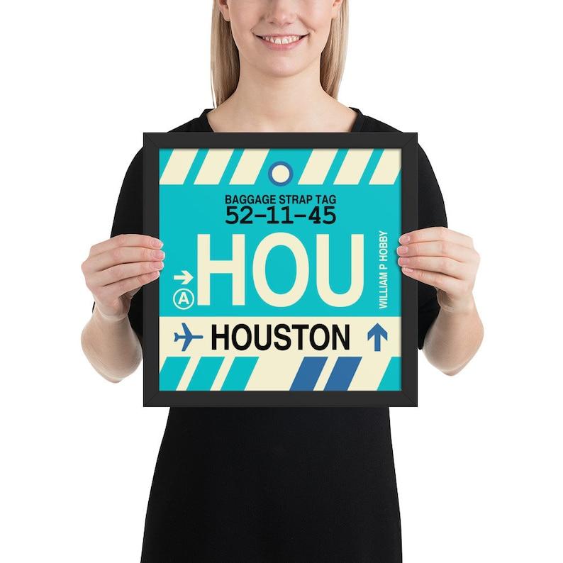 HOUSTON Framed Wall Art  HOU Airport Code Poster Travel Theme Print  Texas Travel Home Decor for Bedroom Dorm or Nursery Hobby