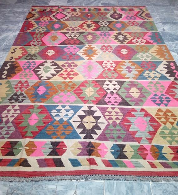 9.7 X 6.4 Stunning Kilim Rug Large Afghan Chobi Kilim Rug