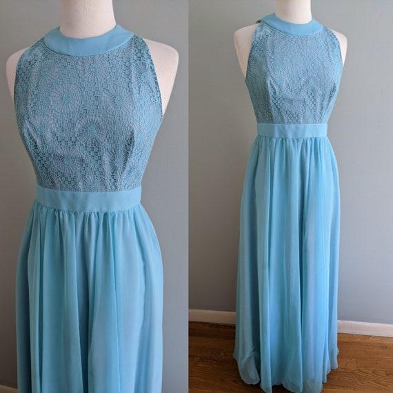 1960s Aqua Chiffon Long Dress, 60s Sleeveless Chif