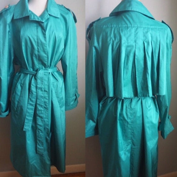 Vintage Rain Coat/Turquoise Green Raincoat/Windbre
