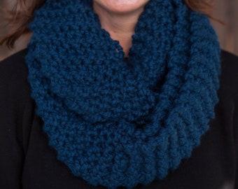 Hand Knit Infinity Scarf // Wool Scarf // Chunky Knit Scarf: Petrol Blue