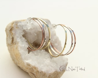 Thick Hoop Earring Silver Copper Brass , Chunky Hoop Earring , Large Hoop Earring, Mixed Metal Earring, Wide hoop Earring, Open Hoop Earring