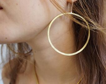 Big Brass Hoop Earrings, Large Brass Earring, Large Gold Hoop Earring, African Hoops, Bronze Hoop, Rustic Unusual 3 inch Tribal Earring