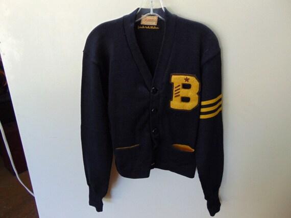 sSMw56 1940-50's Vintage Heavy Wool School Sweater
