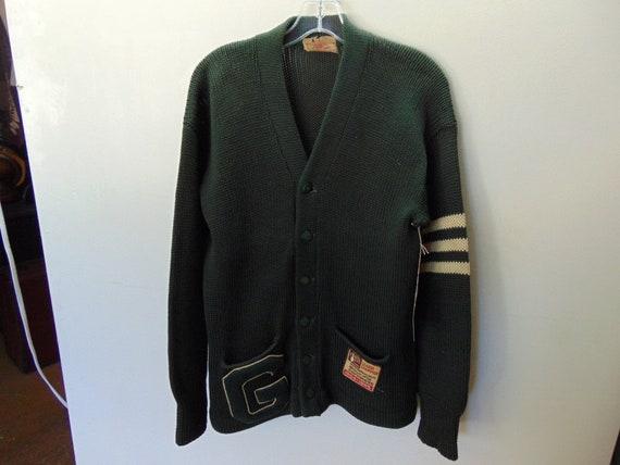 sSMw57 1940-50's Vintage Heavy Wool School Sweater