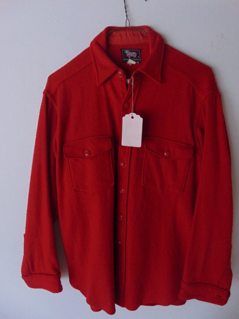 1940s Men's Shirts, Sweaters, Vests Lsw20 1940s-50s Solid Red Woolrich M Flannel Vintage Shirt  Original Buttons $25.00 AT vintagedancer.com